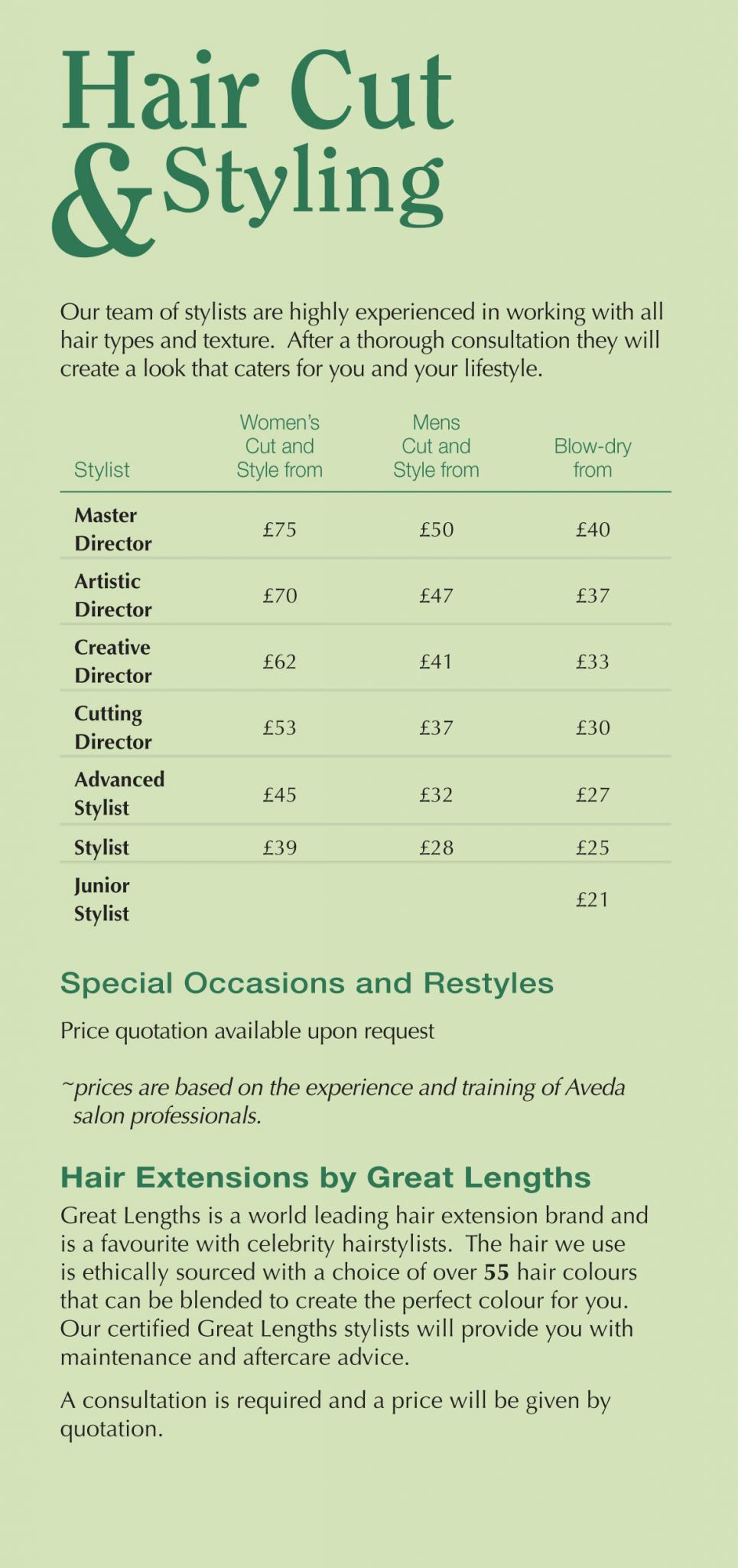 Gents' Hair Cuts Aveda Hair Salon & Spa Surrey