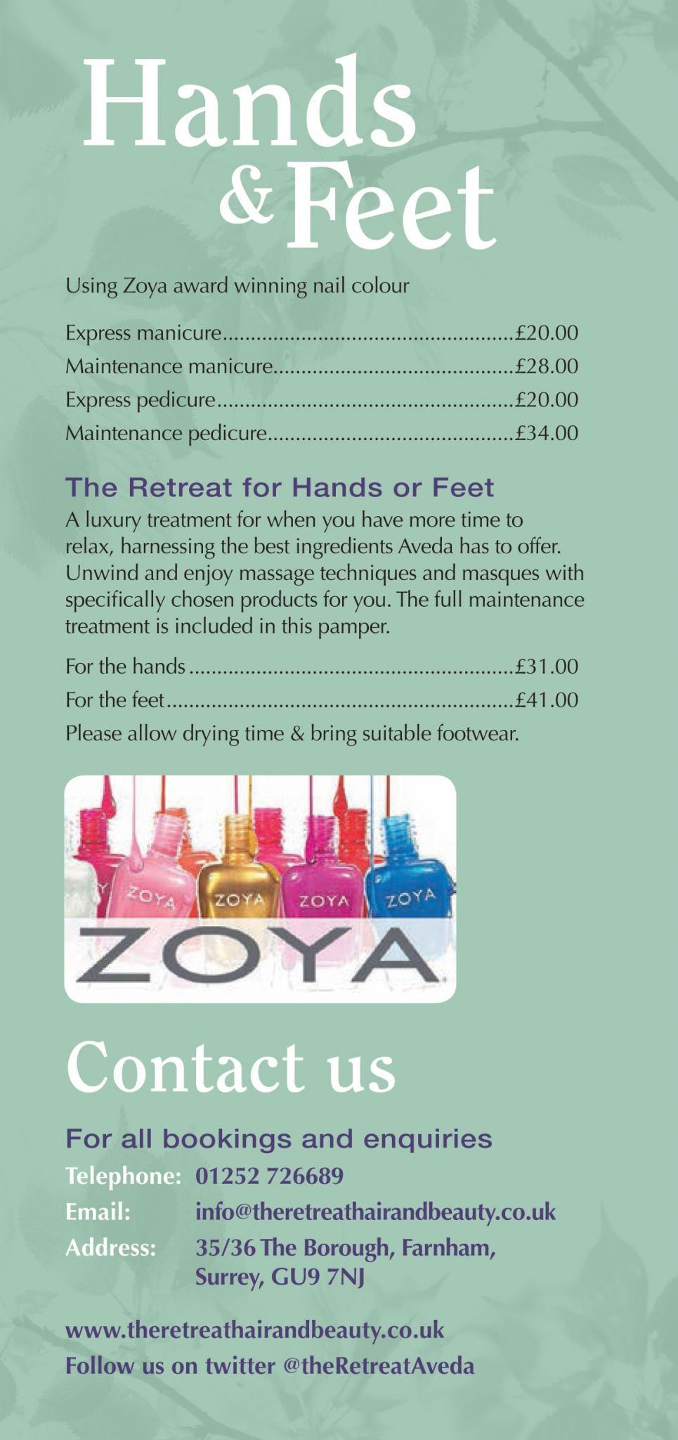 Manicures & Pedicures Aveda Spa, Salon Farnham
