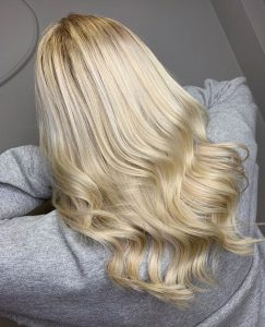 platinum blonde hair colour at the retreat hair salon and spa farnham