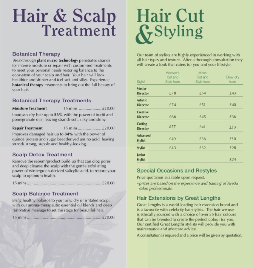 Hair Price List One